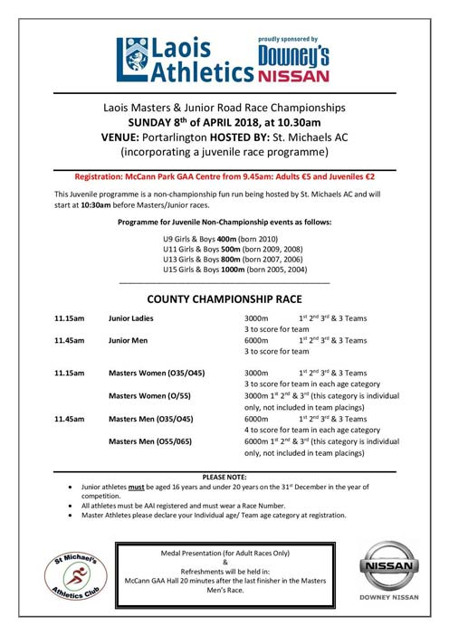 Laois Masters Road Race 2018