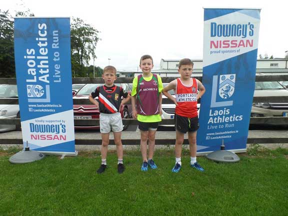 1st 2nd and 3rd at Summer league Programme 3 2017 Pic Credit Laois Athletics