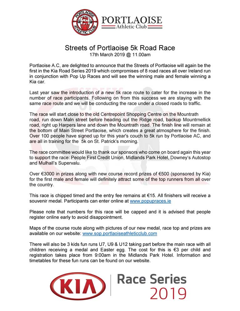 Streets of Portlaoise 5k Press Release 2019 Page 1 low res