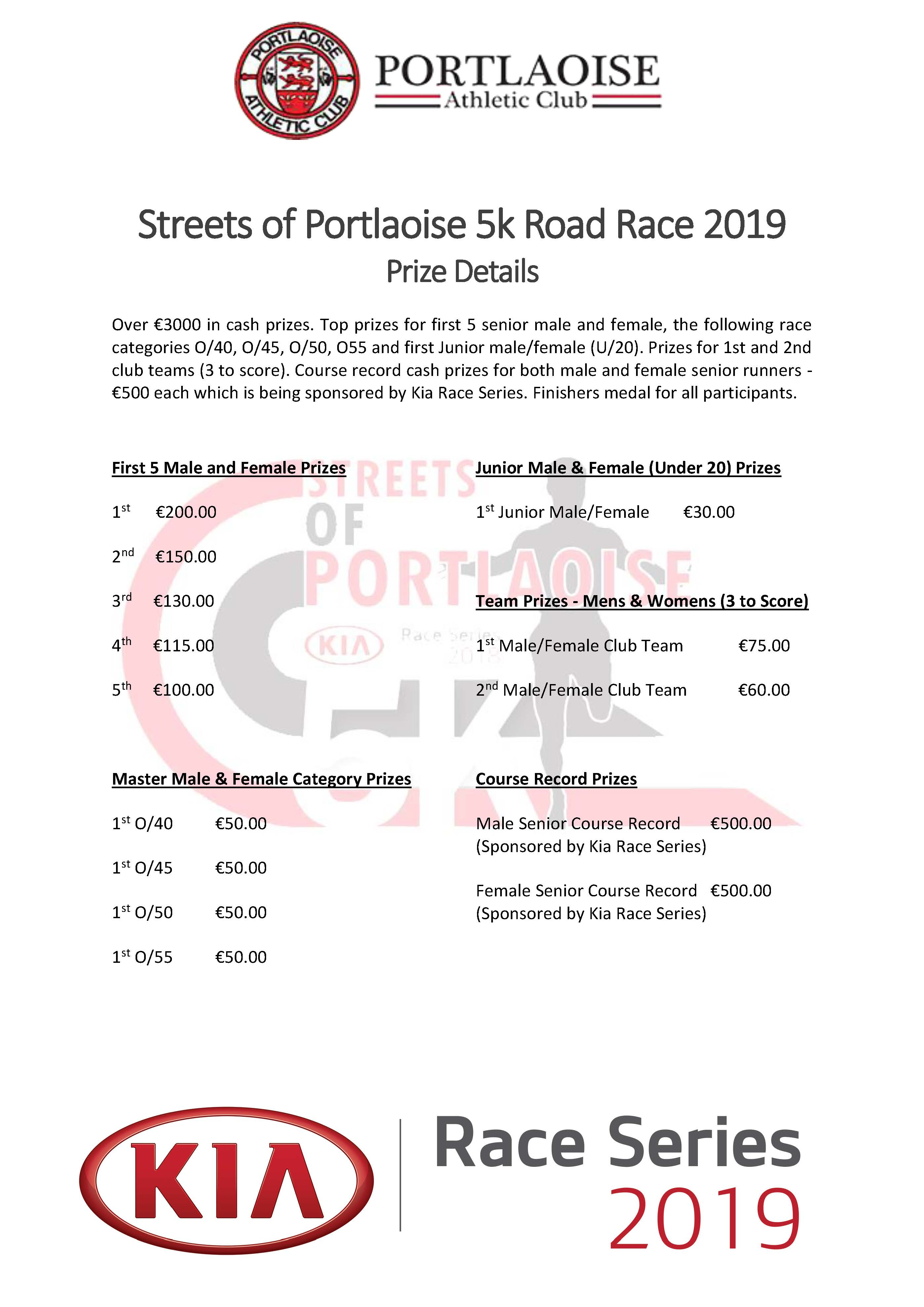 Streets of Portlaoise 5k Prize Details 2019